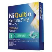 NiQuitin Adesivo 21mg, caixa com 7 adesivos transdérmicos transparentes (etapa 1)