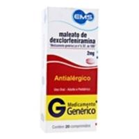 Maleato de Dexclorfeniramina Neo Química 2mg, caixa com 20 comprimidos
