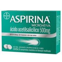Aspirina MicroAtiva 500mg, caixa com 20 comprimidos revestidos de liberação modificada