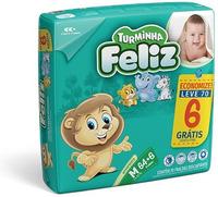 Fralda Turminha Feliz M, pacote com 64 unidades + 6 unidades, grátis