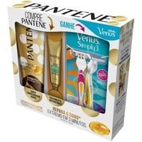 Kit Pantene Summer Edition 3 Minutos Milagrosos condicionador, 170mL + ampola, 15mL + grátis, aparelho depilatório, 2 unidades
