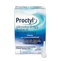 Proctyl 50mg/g + 10mg/g, caixa com 10 bisnagas com 3g de pomada de uso retal + 10 aplicadores