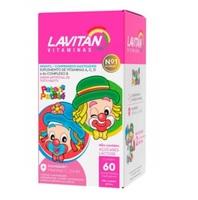 Lavitan Kids tutti-frutti, frasco com 60 comprimidos mastigáveis