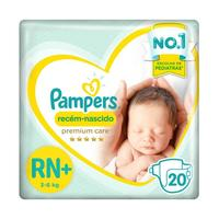 Fralda Pampers Premium Care RN, pacote com 20 unidades