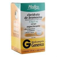 Cloridrato de Bromexina Medley 0,8mg/mL, caixa com 1 frasco com 120mL de xarope + 1 copo medidor