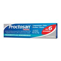 Proctosan 0,5% + 2% + 2% + 10%, caixa com 1 bisnaga com 20g de pomada de uso retal + 6 aplicadores