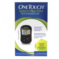 Medidor de Glicemia OneTouch Select Plus Flex 1 unidade + lacentador + lancetas com 10 unidades + tiras reagentes com 10 unidades