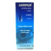 Lacrifilm 5mg/mL, caixa com 1 frasco gotejador com 10 mL de solução de uso oftálmico