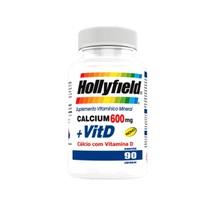 Cálcio + Vitamina D Hollyfield 600mg, frasco com 90 cápsulas