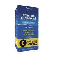 Cloridrato de Ambroxol Geolab 3mg/mL, caixa com 1 frasco com 120mL de xarope infantil + copo medidor