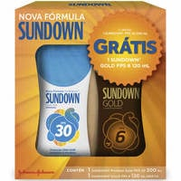 FPS 30, 120mL + grátis, bronzeador sundown gold, FPS 6, 120mL