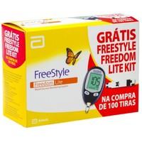 Kit Medidor de Glicose FreeStyle Freedom Lite + 100 Tiras Teste