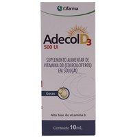 Adecol D3 500UI, frasco gotejador com 10mL de solução de uso oral