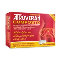 Atroveran Composto Comprimido 30mg, caixa com 20 comprimidos