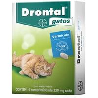 Drontal Gatos - 4 kg, 339mg, caixa com 4 comprimidos