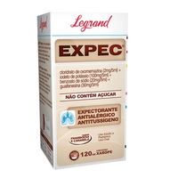 Expec 0,4mg/mL + 20mg/mL + 4mg/mL + 6mg/mL, caixa com 1 frasco com 120mL de xarope