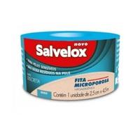 Fita Microporosa Salvelox bege, 2,5cm x 4,5m com 1 unidade