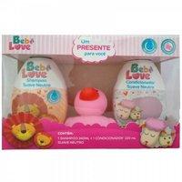 Kit Bebê Love shampoo com 240mL + condicionador com 220mL + bichinho, rosa, 1 unidade