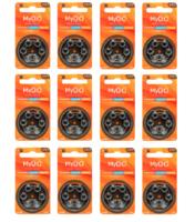 Kit para Aparelhos Auditivos Direito de Ouvir 12 cartelas de pilhas com 6 unidades cada, tamanho A312 + refil, sílica gel desumidificador, 2 unidades com 100g cada + 2 cartelas com 8 filtros cada