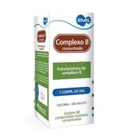 Complexo B 12 EMS 15,0 mcg + 25,0 mg + 3,30 mg + 32,650 mg + 50,0 mg + 10,0 mg, caixa com 20 comprimidos revestidos