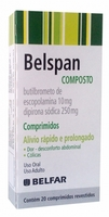 Belspan Comprimido 250mg + 10mg, caixa com 20 comprimidos revestidos