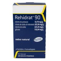 Rehidrat 90 53,76mg/g + 103,94mg/g + 125,45mg/g + 716,84mg/g, caixa com 4 envelopes com 13,95g de pó para solução de uso oral