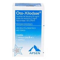 Oto-Xilodase 100UTR/mL + 50mg/mL + 5m/mL, caixa com 1 frasco gotejador com 8mL de solução de uso otológico