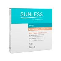 Pó Compacto Sunless Efeito Matte FPS 50, bege claro