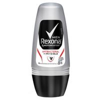 Desodorante Masculino Rexona MotionSense antibacterial invisible, roll-on, 1 unidade com 50mL