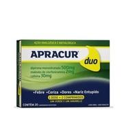 Apracur Duo 250mg + 2mg + 30mg, caixa com 20 comprimidos revestidos
