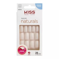 Unhas Postiças Kiss New York Salon Naturals Médio, Quadrado, 28 Unidades