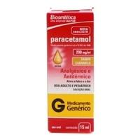 Paracetamol Biosintética 200mg/mL, caixa com 1 frasco gotejador com 15mL de solução de uso oral