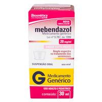 Mebendazol Biosintética 20mg/mL, caixa com 1 frasco com 30mL de suspensão de uso oral + 1 copo medidor