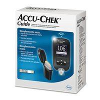 Kit Monitor de Glicemia Accu-Chek Guide aparelho monitor + tiras de teste com 10 unidades + lancetador Fastclix + lancetas com 6 unidades + estojo