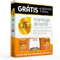 Kit Gota Dourada Manteiga de Karité shampoo com 340mL + condicionador com 340mL + sabonete íntimo fresh, líquido com 100mL grátis