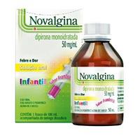 Novalgina Solução Oral 50mg/mL, caixa com 1 frasco com 100mL de solução de uso oral + seringa dosadora