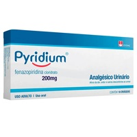 Pyridium 200mg, caixa com 18 drágeas