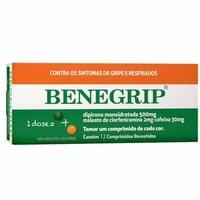Benegrip 500mg + 30mg + 2mg, caixa com 12 comprimidos revestidos