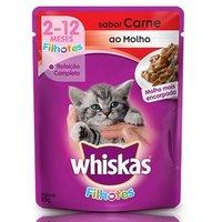 Ração para Gatos Whiskas Filhotes Sachê carne ao molho com 85g