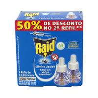 Repelente Raid Elétrico Líquido 45 Noites original, 32,9mL, 2 unidades